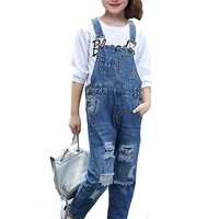 Girls Sets for Kids Denim Overall Pants 2018 New Hot Casual Broken Hole Jeans + T-shirts 2pcs Children Clothes 6 8 10 12 Years