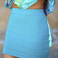Banded With Love Skirt: Teal | Hope's
