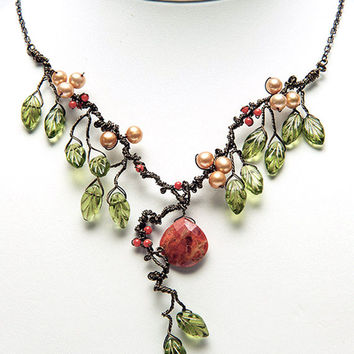 Green and Orange Statement Necklace, Autumn Leaf Jewelry, Sand Coral Leaf Necklace, Bib Necklace, Nature Jewelry
