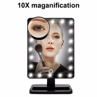 Touch Screen 20 LED Lighted Makeup Mirror with Removable 10x Magnifying Mirrors