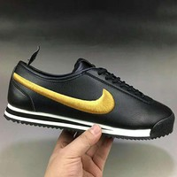 NIKE Classic Cortez Leather Men Fashion Casual Running Sport Shoes Sneakers Black Golden Hook G-XYXY-FTQ