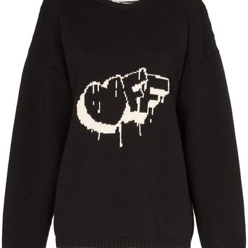 Ladies Black Heart Knit Sweater by OFF-WHITE