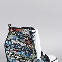 Floral Lace High Top Lace Up Sneaker