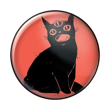 Third Eye Cat, Red, 1-Inch Pin Button