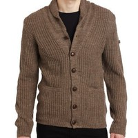 Ben Sherman Men's Shawl Collar Cardigan, Almond Marl, X-Large