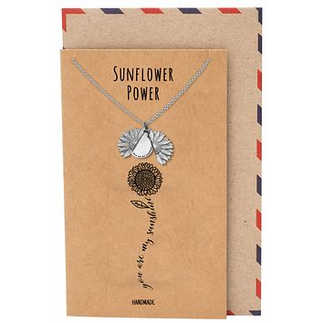 Adeola You Are My Sunshine Necklace, Sunflower Locket Pendant Engraved Gifts Jewelry Greeting Cards