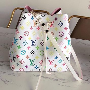 Louis Vuitton LV color full printed women's drawstring bucket bag shoulder messenger bag