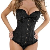 iecool Women's Sexy Shaper Corset With G-String X-Large Black