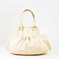 Fendi Cream Genuine Crocodile Double Handle Satchel Bag