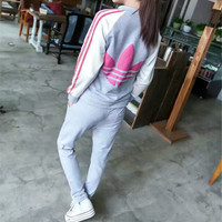 """Adidas"" Fashion Casual Stripe Clover Print Long Sleeve Zip Cardigan Set Two-Piece Sportswear"