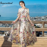 2017 New Fashion Runway Maxi Dress Women's Elegant Short Sleeve Tulle Gauze Flower Floral Embroidery Vintage Long Dress Vestidos