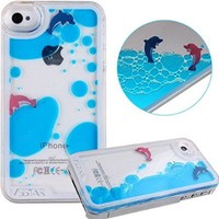 iPhone SE Case,iPhone 5S Case,iPhone 5 Case,iPhone SE Liquid Case,iPhone 5S Liquid Case,ikasus Flowing Liquid Dolphins Shell Coconut Trees Hard Case for Apple iPhone SE & iPhone 5S 5 (Light Blue)