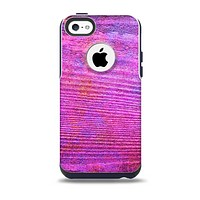 The Neon Pink Dyed Wood Grain  Swirls Skin for the iPhone 5c OtterBox Commuter Case