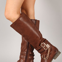 Prima-12HI Strappy Buckle Riding Knee High Boot