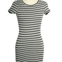 Sexy Round Neck Striped Short Sleeve Fitted Knitted Bodycon Stretch Mini Dress