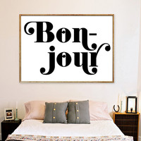 Bonjour Art Print - French Quote - Bedroom Decor - Typography Print - Paris Home Decor - Minimalist art