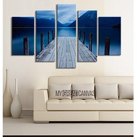 LARGE CANVAS Wall Art Solar Sunrise Wood Pier at Twilight Canvas Print 5 Panel for Great Home