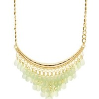Mint Dangling Beaded Bib Necklace by Charlotte Russe