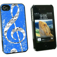 Vintage Treble Clef Music Blue - Hard Case for Apple iPhone 4 4S - Black