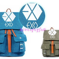 EXO XOXO WOLF GROWL CANVAS SCHOOLBAG BACKPACK KPOP BAG NEW