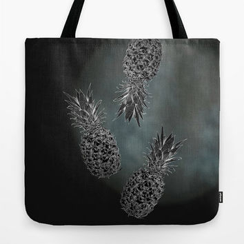 August special! Tote bag Lunch bag Black tote bag with print of pineapples Theme of gray and black