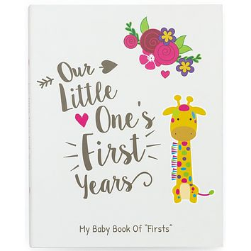 Ronica First Year Baby Memory Book & Baby Journal - Modern Baby Shower Gift & Keepsake for New Parents to Record Photos & milestones - Five Year Scrapbook & Picture Album for boy & Girl Babies Giraffe Unisex
