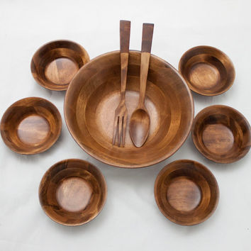 Large Vintage Banded Teak Salad Bowl, Serving Utensils, & Six Bowls