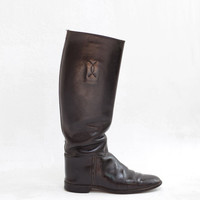 FALL SALE vintage boots |  Churchill 1940s leather riding boots | black equestrian police boots size 7.5