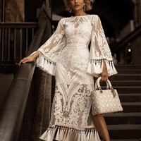 Hortenzia Elegant White Lace Dress