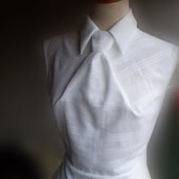 3D dart manipulation to tie on white blouse white pure cotton top sleeveless white shirt with tie