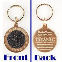 Authentic real Titanic Coal relic bronze metal key chain from The Highland Mint