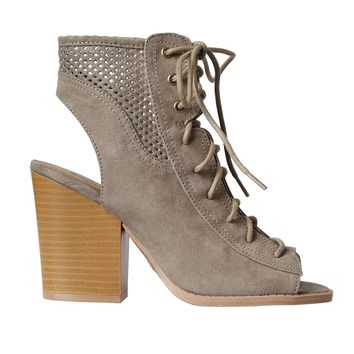 Taupe Perforated Lace-Up Block Heels
