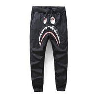 BAPE 2018 men and women couple models classic shark casual pants F-A-KSFZ black
