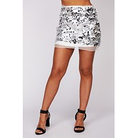 Sparkle For Days Sequin Mini Skirt (Silver)
