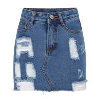 Ripped A-line Denim Skirt in Blue