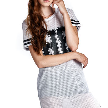 """""""H8"""" No Hate White Athletic Mesh Dress with Rounded Hem"""