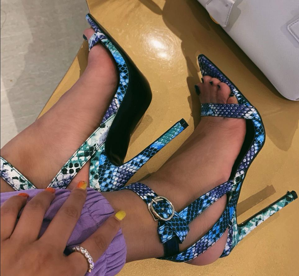 Image of Hot style colorful sandals with pointed narrow heels
