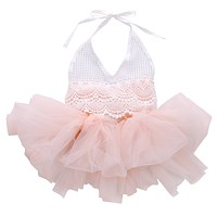 Baby Romper Lace Tulle Girls Jumpsuit Infant Kids Overall Clothing Cotton Tutu Children Clothes one Piece
