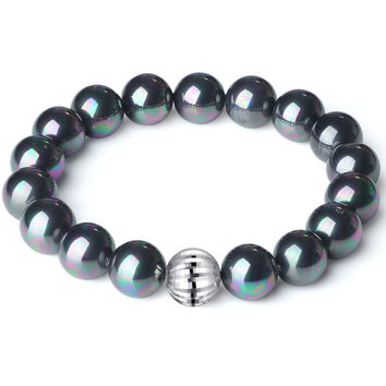 Sterling Silver Bead and 10mm Black Shell Pearl Stretch Bracelet