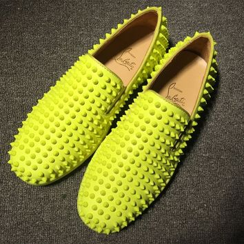 KUYOU Christian Louboutin Slip On CL fashion casual shoes red sole for men and women jeans 9057