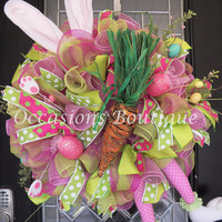 Last One! Easter Wreath, Easter Bunny Wreath, Easter Door hanger, Whimsical Wreaths, Spring Wreath, Front door Wreaths, Ready to Ship