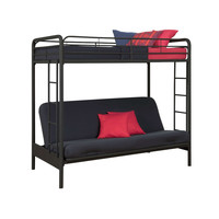 Twin over Full Futon Bunk Bed Sleeper Sofa in Black Metal