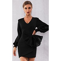 Big Shot Black Long Lantern Sleeve V Neck Oversized Bow Bodycon Mini Dress