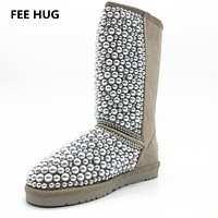 2017 Winter Woman's Fur Snow Boots Women Handmade Real Leather Boots Fashion Warm All Pearls Design Shoes Woman Eu 43