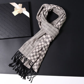 Winter Men Tassels Plaid Thicken Scarf [6047358337]