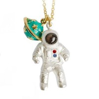 Astronaut and Saturn Space Travel Themed Pendant Necklace