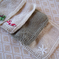 Organic Christmas Drool Bib Set of Two- Your choice of design, hand knit, fair trade, colorgrown cotton