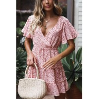 2019 spring and summer new short-sleeved V-neck print dress