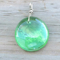 Green Glass Drop Necklace  Tropical Green