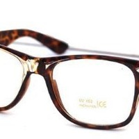 Standard Retro Clear Lens Nerd Geek Assorted Color Horn Rimmed Glasses (Tortoise Shell)